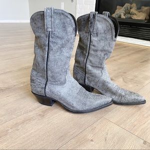 TONY LAMA Gray Leather Cowgirl Boots! Size 7
